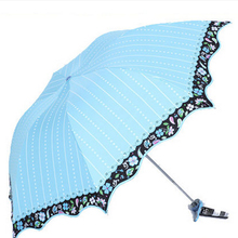 Beach Mini Folding Umbrella Protection Blue Polyester Nylon Guarda Pluie Small Lace Waterproof Umbrella Fabric For Girls DDGXZ1(China)