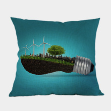 Green Environment Protection Public Serice Advertising Saving Bulb Throw Pillow Case Green Creative Solar Energy Cushion Covers(China)