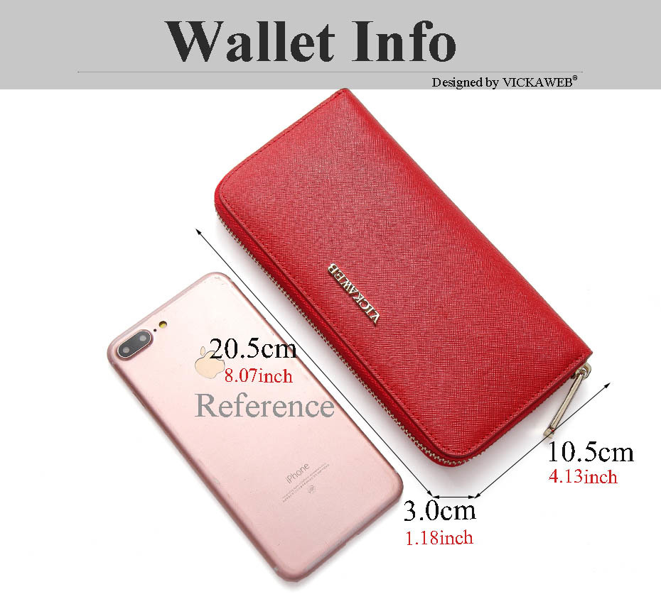 VICKAWEB Big Female Wallet Solid Women Wallets Genuine Leather Zipper Long Purses New Standard Wallets Fashion Ladies Purse 06-VICKAWEB06--002