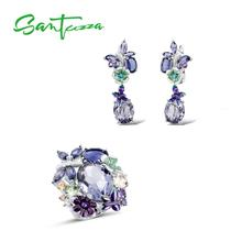 SANTUZZA Silver Earrings Jewelry-Set 925-Sterling-Silver HANDMADE Purple Women for Stones