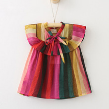 Oklady 2017 new casual kids summer ruched dress girl bow strapless children vestidos robe fille summer clothing