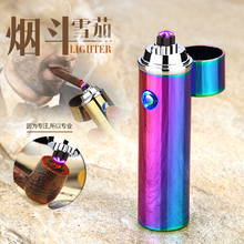 Noble cylinder LED Windproof Smoke lighter Cross Double Arc Lighter USB Pulse Cigar Lighters Electronic pipe cigarette lighters(China)