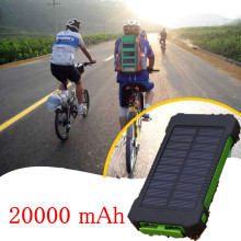 New 20000mah Solar Power Bank Portable external battery pack Charger Dual USB solar charger For Xiaomi iphone/all USB devices(China)