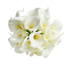 "Practical Elegant 13"" 20pcs Bouquet Artificial Fake Flower Calla Lily Bridal Wedding Bouquet Latex white"