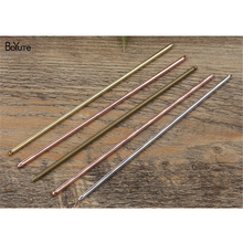 BoYuTe 10 Pieces 3*130MM Metal Hair Stick with One Loop 7 Colors Plated Brass Material Hair Jewelry