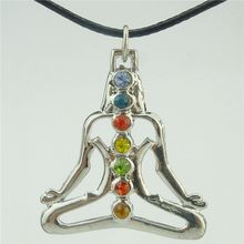 "Free shipping 15883 Random rhinestone Alloy Dull Silver Chakra Pendant Buddha Yoga Meditation Crystal 17"" Necklace(China)"