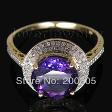 Vintage Round 10x10mm 14Kt Yellow Gold Natural Diamond Purple Amethyst Ring for Girl Fine Jewelry Gift WR0015