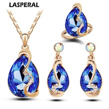 Luxury Austrian Crystals Bridal Jewelry Sets Gold Color Blue Red Dubai Jewellry Sets for Women Necklace/Earrings/Ring Wedding