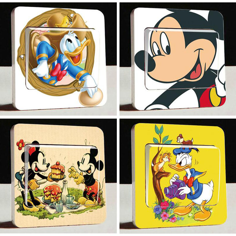 HTB1NgZgdv5TBuNjSspcq6znGFXai - 1 pcs Cute Mickey Mouse Donald Duck Light Switch Stickers-Free Shipping