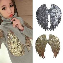 35*18cm Angel Wing Feather Sequin Embroidered Fabric Large Patch Applique Stick Clothes Bag DIY Decorate Gold Silver Iron