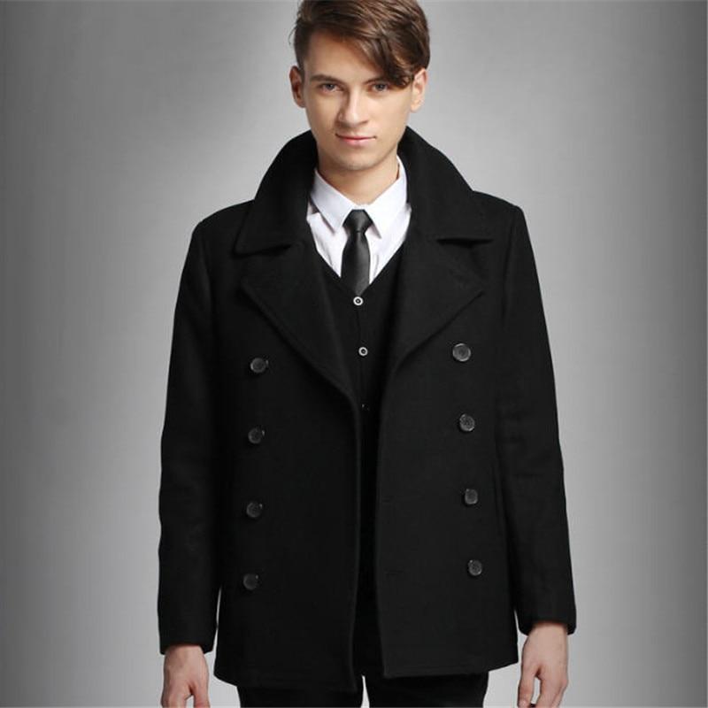 Mens Pea Coat Black Double Breasted Wool Peacoat Slim Fit Winter Warm Men Casual Overcoat Trenchcoat S-XXL A750