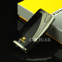 Free shipping Excellent Gift Refillable Single Torch Flame jet Lighter Cigarette Cigar Lighter with Steel Cigar Punch