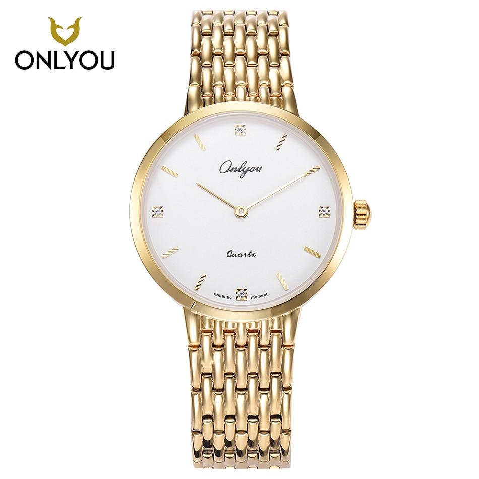 ONLYOU Gold Band Stainless Steel Women Watch Men Luxury Clock Lovers Watches Casual Women Wristwatch Sport Man montre  <br>