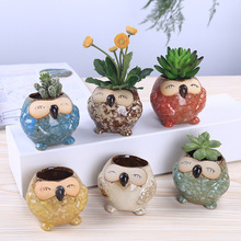 Fambe glaze onamot Eye Owl ceramic pot lovely creative crafts ornaments Home Furnishing fleshy thumb pots