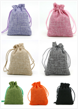 7x9cm 1pc Pick Color Christmas/Wedding Gift Pouch Decorative bags Linen Cotton Drawstring Jewelry Bag Product Packaging Bags