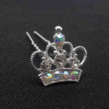 New prom hair jewelry 12Pcs lot free shipping AB crystals silver metal crown charm 65mm long hair fork jewelry accessories