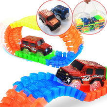 600 Tracks & 2 Cars Gift Packs Handbag Glowing racing track set Glow in dark Led car toy Glow Race Track Cars toys for children(China)