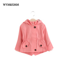 Brand High Quality Pink Trench Coat For Girls British Style Hooded Toddler Girls Jacket Spring Autumn Pure Cotton Outerwear Hot