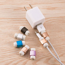 5Pcs Mini USB Charger Cable Protective Plating Cable Winder Charger Protector for Apple iPhone 6S Plus 6S 5S 5C 5 4S 4