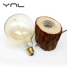 YNL Edison bulb Incandescent lamp E27 Table Lamp Bedside Cafe Night Light Retro Vintage Diamond Solid Wood Lampholder EU/US Plug
