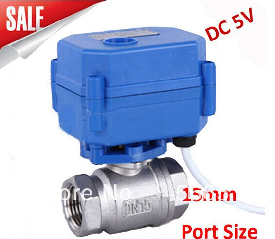 Motorized Ball Valve 1/2 DN15 DC5V 2 way Stainless Steel 304 Electric Ball Valve ,CR04 Wire<br><br>Aliexpress
