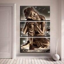 modulare leinwand poster flur hintergrund decor 3 stucke buddha statue gemalde hause corridor wand kunstdrucke zen bilder rahmen