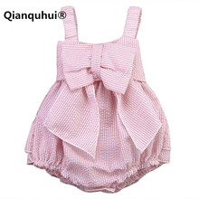 Qianquhui High Quality 0-24M Summer Striped Bubble Yarn Pink Baby Dress Girl Party Children's Dress Newborn Baby Girl Dresses