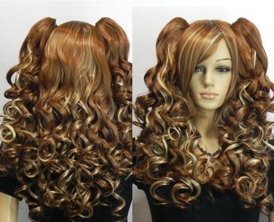 100% free shipping&gt; new woman multi color long curly cosplay full wig + wig pigtail AAA <br><br>Aliexpress