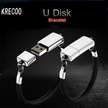 KRECOO Fashion Custom LOGO USB Flash Drives Portable Bracelet Metal Memory Stick Storage Wrist Band PenDrive 64GB