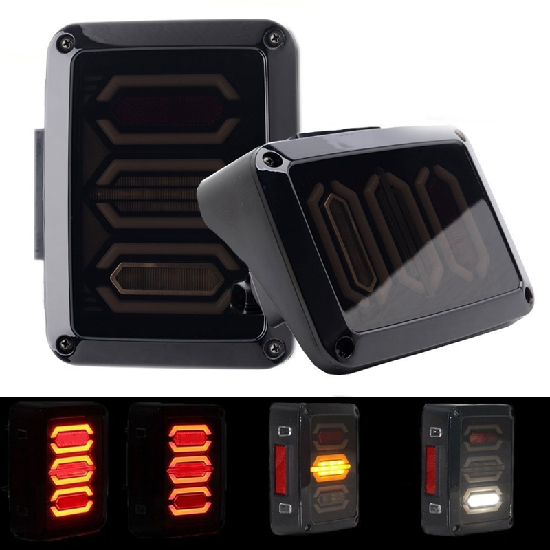 Yait LED Tail Lights 2PC Reverse DRL Turn Singal Lamp Back Up Rear Parking Stop Light DRL For Jeep Wrangler JK JKU Sp 2007-2017 <br>