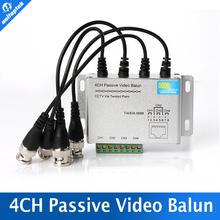 SURGE 4 Channel Active Passive Video Balun ROHS Transmitter Receiver 4CH UTP Cat5 RJ45 Support 720P/1080P HDCVI/AHD/TVI Camera(China)