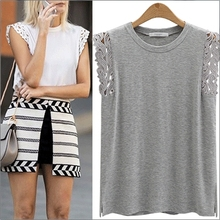Lace Crochet Basic T shirt Women Summer Solid Loose Tops Plus Size L-4XL T shirt Tops For Big Women Black White Gray T75204