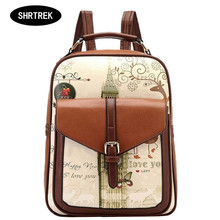 SHRTREK Hot Sell Printing Backpack For Girls PU Leather Female Backpacks Preppy Style Backpack Women School bags