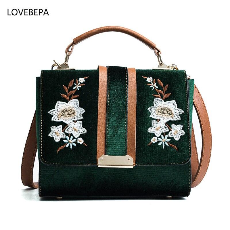 shoulder bags for women 2017 women messenger bags High Quality Velour designer crossbody bags female flower embroidery 3color<br>
