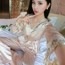 2017 Spring Autumn Cute Embroidery Big Size Sleepwear Satin Silk Pajamas Long Sleeve V Neck Sexy Lingerie Nightwear For Ladies