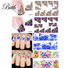Bittb 4pcs Nail Art Sticker Water Transfer Decals Adhesive Sticker Nail DIY Design French Manicure Decoration Accessories(China)