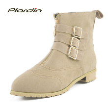 plardin 2017 Autumn And Winter Buckle Shoes Women Boots Suede material Fashion Boots Women Shoes Short Pointed Toe Ankle Boots