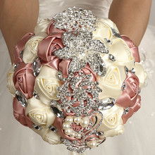 WifeLai-A Factory Sale Silk Wedding Bouquet Nake Pink Ivory Color Superb Quality Diamond Brooch Flower Ribbon Bouquets de noiva
