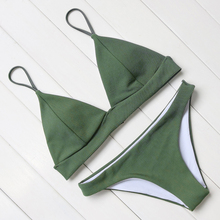 Buy sexy bikini women push swimsuit halter bandage swimwear female padded bathing suit solid bikini set low waist swimming suit