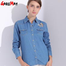 Embroidery Blouses Shirt Denim Women Jeans Tops Cotton Shirts Feminine Women Shirts Sleeve Long Embroidered Clothes 2018 GAREMAY(China)