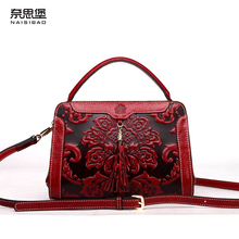 High quality Genuine Leather name brand  Vintage pattern Shoulder Messenger bag fashion Chinese style women bag