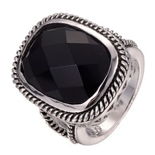 Good quality  Black onyx 925 sterling silver   Fashion Design Ring Size 6 7 8 9 10 F1285