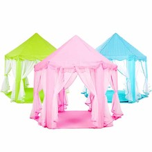 1pc Children's Princess Tent A Toy House Hexagonal Princess Castle Chiffon Children Tent Game Room Playhouses For Kids Play Tent