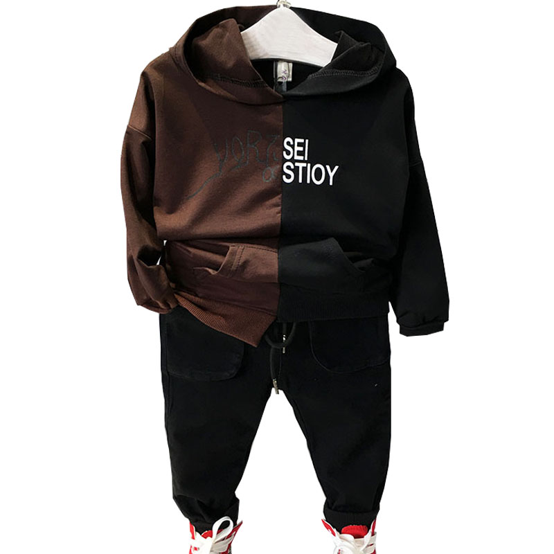 Boys Clothing Sets 2017 Autumn Long Sleeve Hooded Stitching Letter Printing+Pants Clothing Suits for Baby Boys Children Clothes<br>