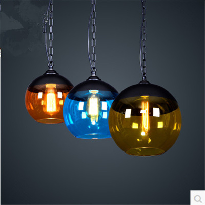 Vintage Loft Blue/Orange/Yellow Glass Ball Iron Chain Led E27 Pendant Light For Dining Room Bar Restaurant Living Room 1401<br><br>Aliexpress
