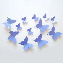 12Pcs/lot Butterfly 3D Wall Stickers for kids Room Bed Room Colorful Stickers Wall Decor Art