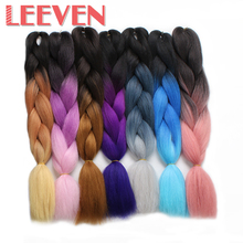 Leeven Jumbo Braids ombre Kanekalon Synthetic Braiding Hair 24'' 100g Fiber Burgundy Black Pink crochet hair extention 1piece