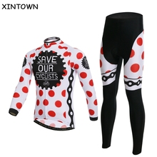 Buy XINTOWN Red Dots Cycling jersey Long Sleeve Clothing Cycling Sets Team Bike Bicycle Jersey+pants Suit spring autumn, winter wear for $37.04 in AliExpress store