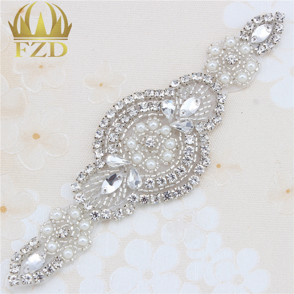 Handmade Beaded Hot Fix Silver Crystal Bling Sew On Wedding Rhinestone  Applique Patch for Dresses DIY ... 3bf173221c4d