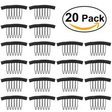 20pcs Steel Tooth Comb Wig Caps Black Wig Combs Plastic Clips Convenient For Hair Full Lace Wigs Cap Accessories Styling Tools(China)